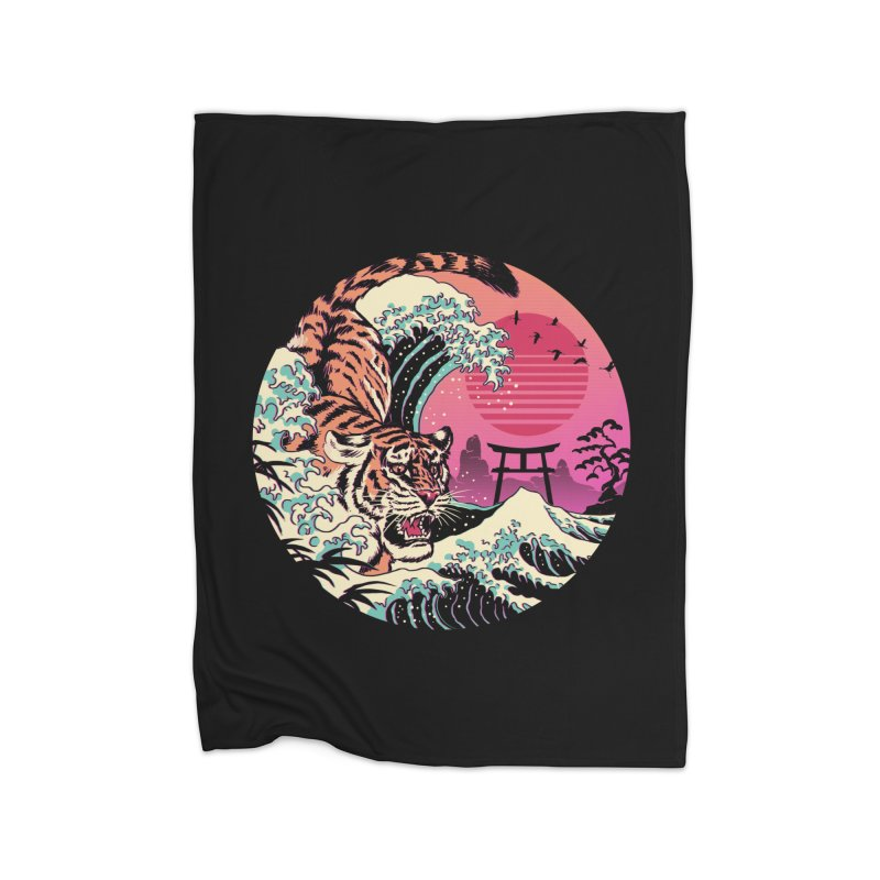 Rad Tiger Wave Home Fleece Blanket Blanket by Vincent Trinidad Art