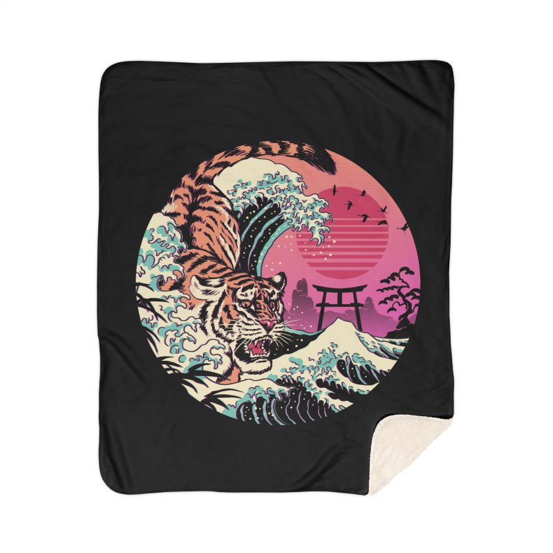 Rad Tiger Wave Home Sherpa Blanket Blanket by Vincent Trinidad Art