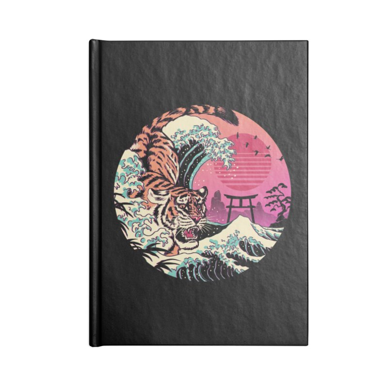 Rad Tiger Wave Accessories Lined Journal Notebook by Vincent Trinidad Art