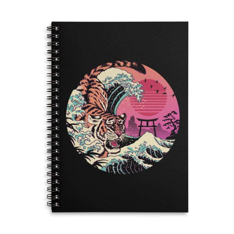 Rad Tiger Wave Accessories Lined Spiral Notebook by Vincent Trinidad Art