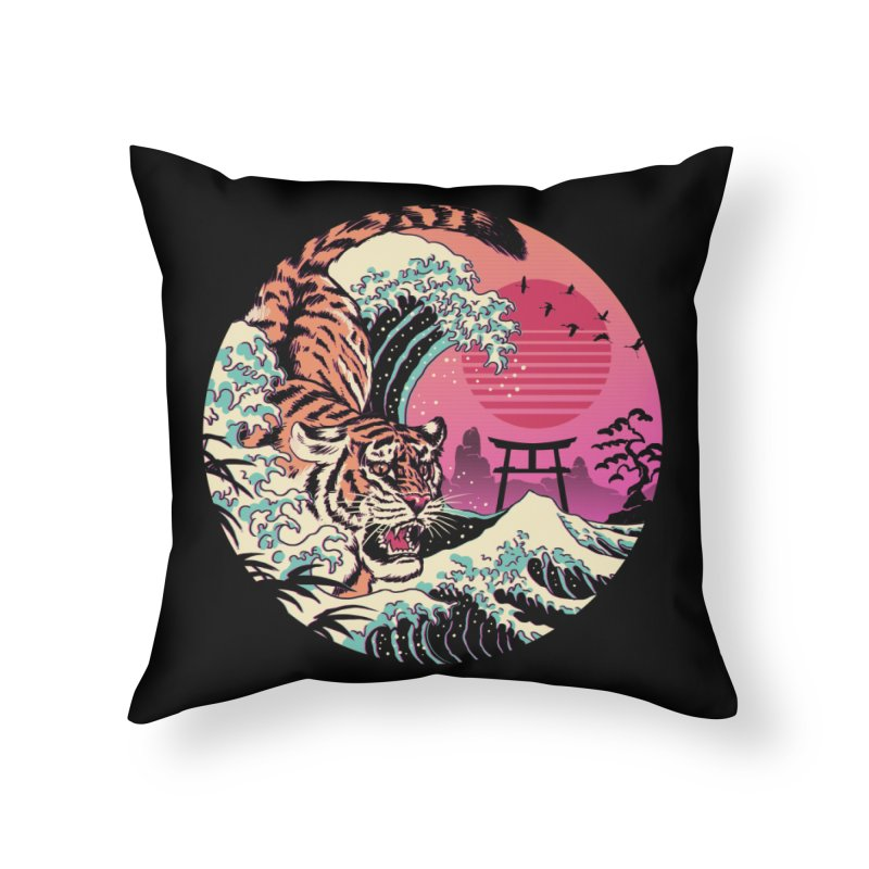 Rad Tiger Wave Home Throw Pillow by Vincent Trinidad