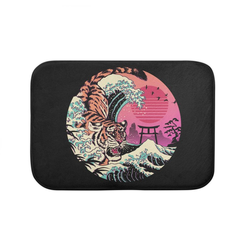 Rad Tiger Wave Home Bath Mat by Vincent Trinidad Art