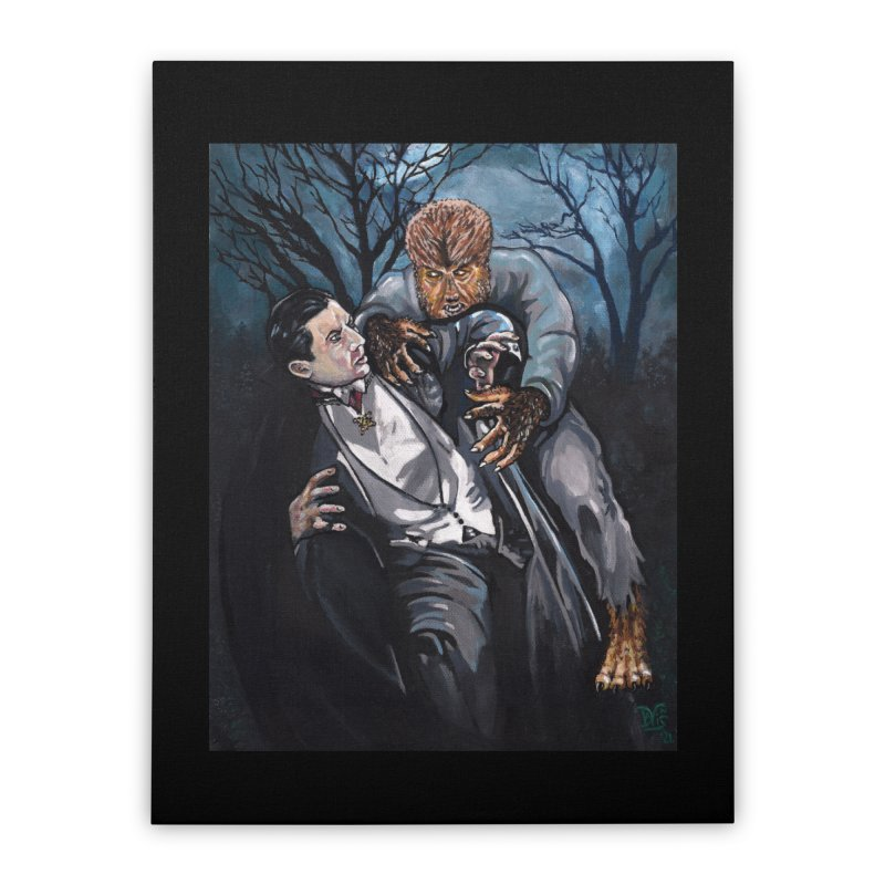 The Wolf Man Vs. Dracula Home Stretched Canvas by VinDavisDesigns