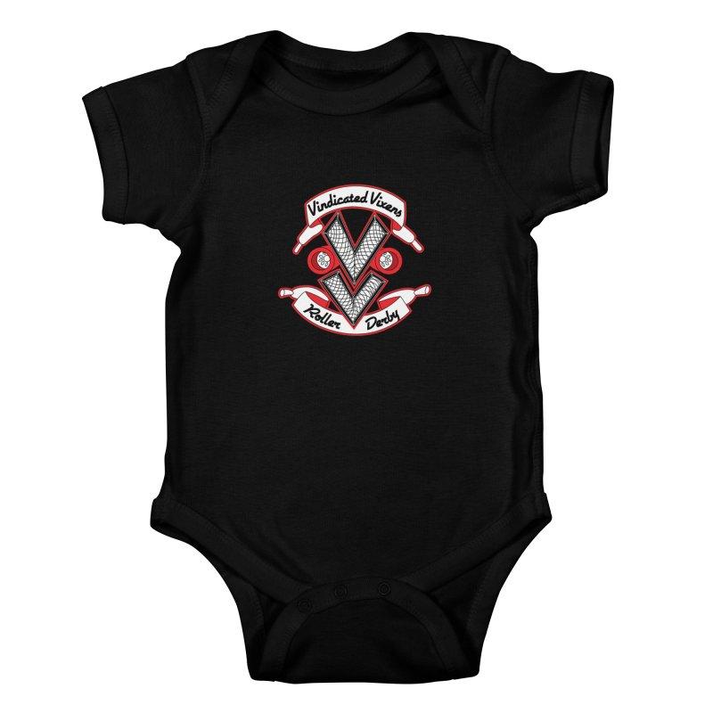 Logo [Light] Kids Baby Bodysuit by Vindicated Vixens Roller Derby