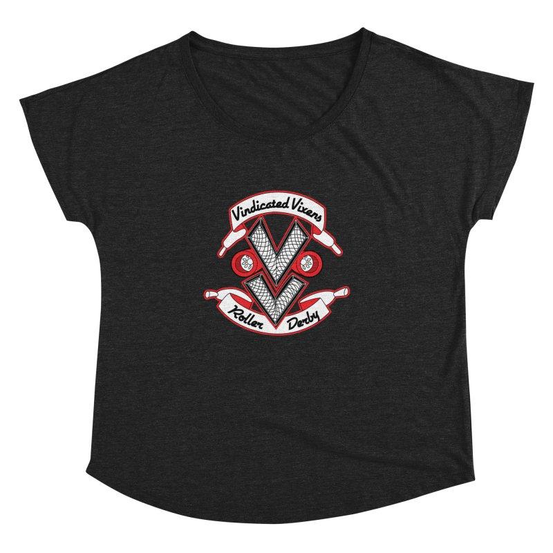 Logo [Light] Women's Dolman Scoop Neck by Vindicated Vixens Roller Derby