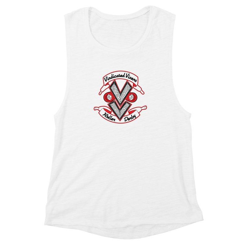 Logo [Light] Women's Muscle Tank by Vindicated Vixens Roller Derby