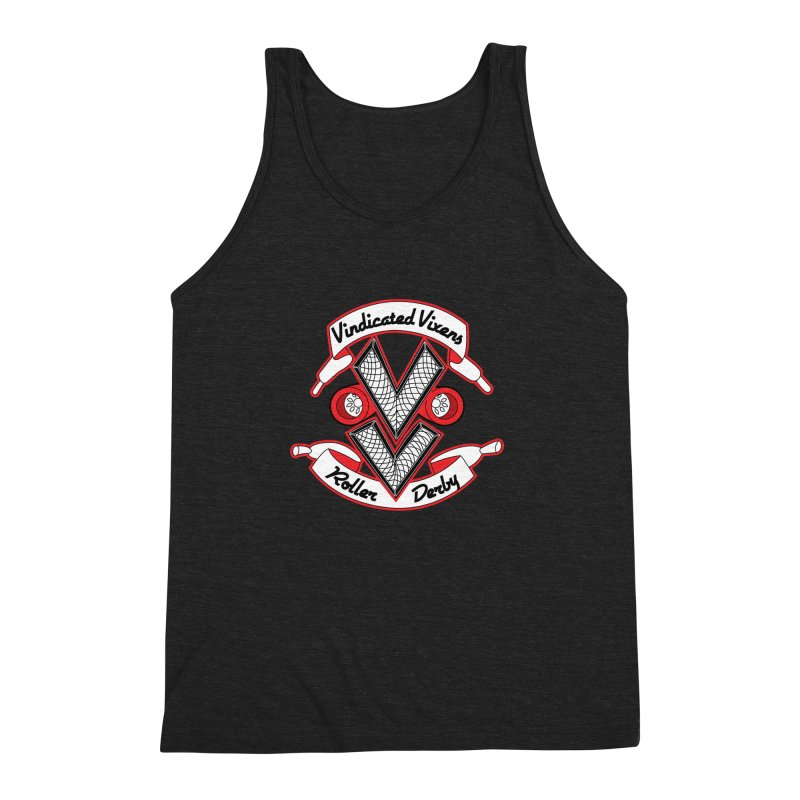 Logo [Light] Men's Triblend Tank by Vindicated Vixens Roller Derby