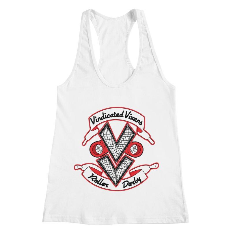 Logo [Light] Women's Racerback Tank by Vindicated Vixens Roller Derby