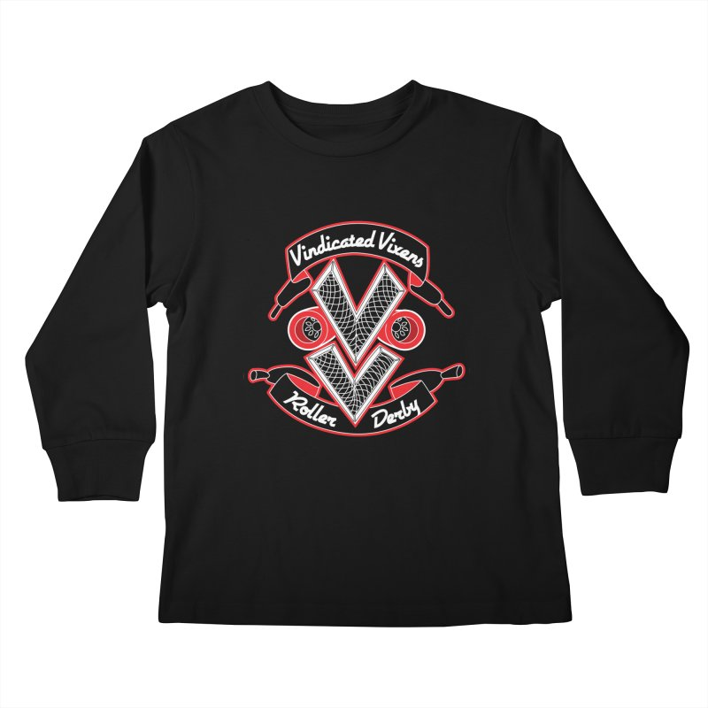 Logo [Dark] Kids Longsleeve T-Shirt by Vindicated Vixens Roller Derby