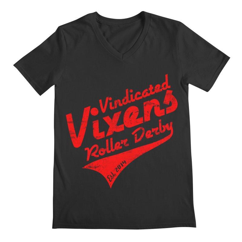 Vintage [Red] Men's Regular V-Neck by Vindicated Vixens Roller Derby