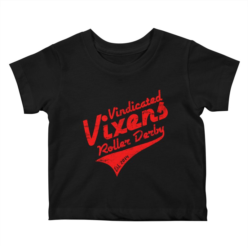 Vintage [Red] Kids Baby T-Shirt by Vindicated Vixens Roller Derby