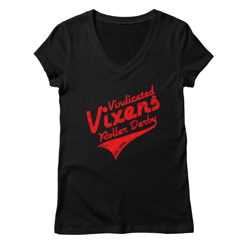 Vintage [Red] Women's Regular V-Neck by Vindicated Vixens Roller Derby