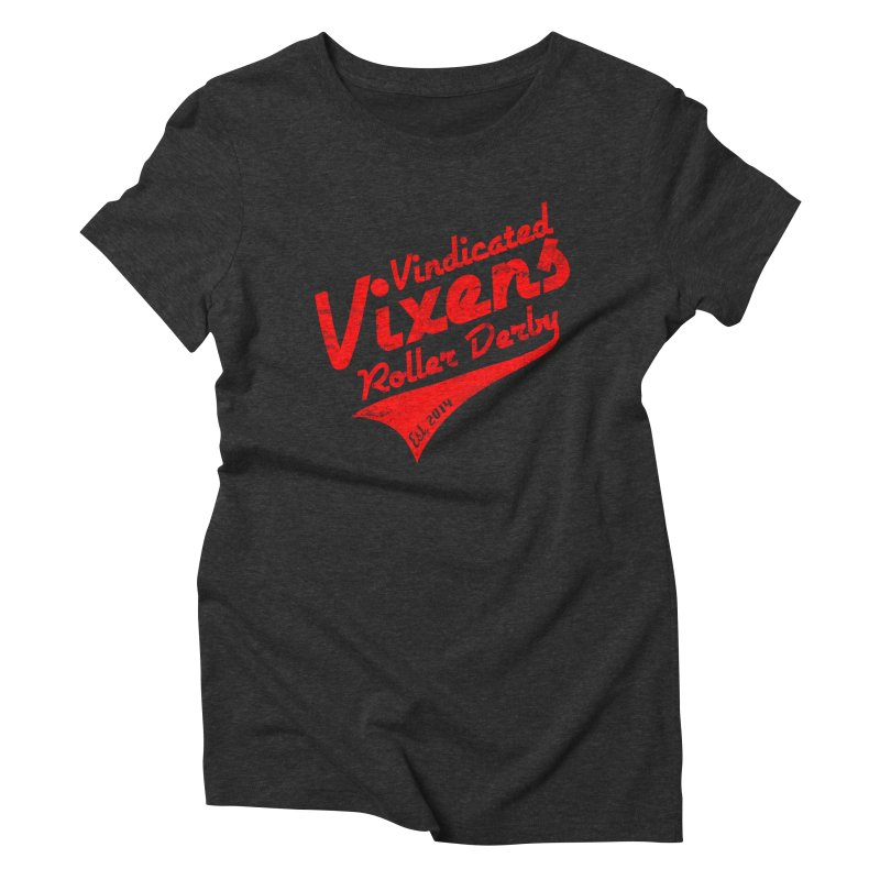 Vintage [Red] Women's Triblend T-Shirt by Vindicated Vixens Roller Derby