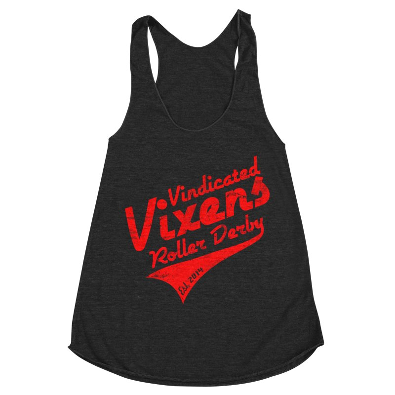 Vintage [Red] Women's Racerback Triblend Tank by Vindicated Vixens Roller Derby