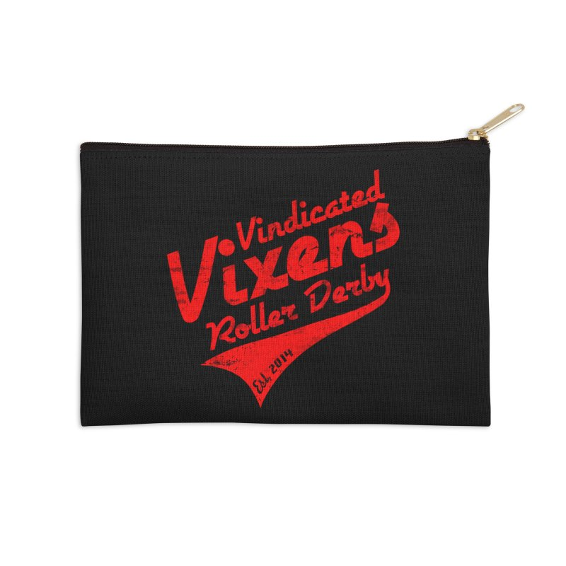Vintage [Red] Accessories Zip Pouch by Vindicated Vixens Roller Derby