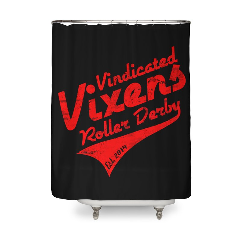 Vintage [Red] Home Shower Curtain by Vindicated Vixens Roller Derby