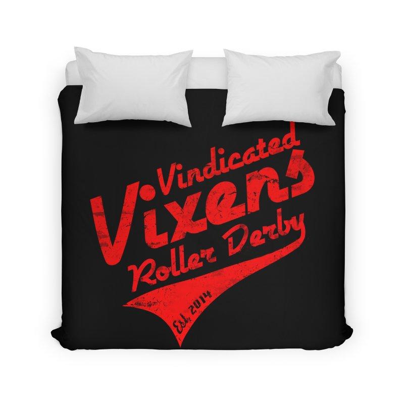 Vintage [Red] Home Duvet by Vindicated Vixens Roller Derby