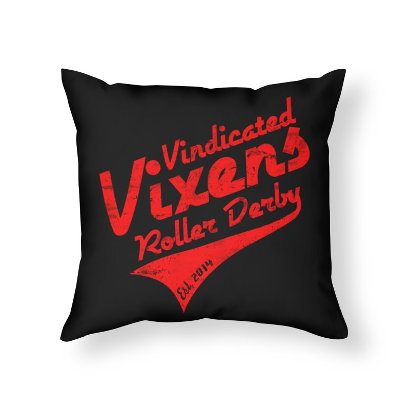 Vintage [Red] Home Throw Pillow by Vindicated Vixens Roller Derby