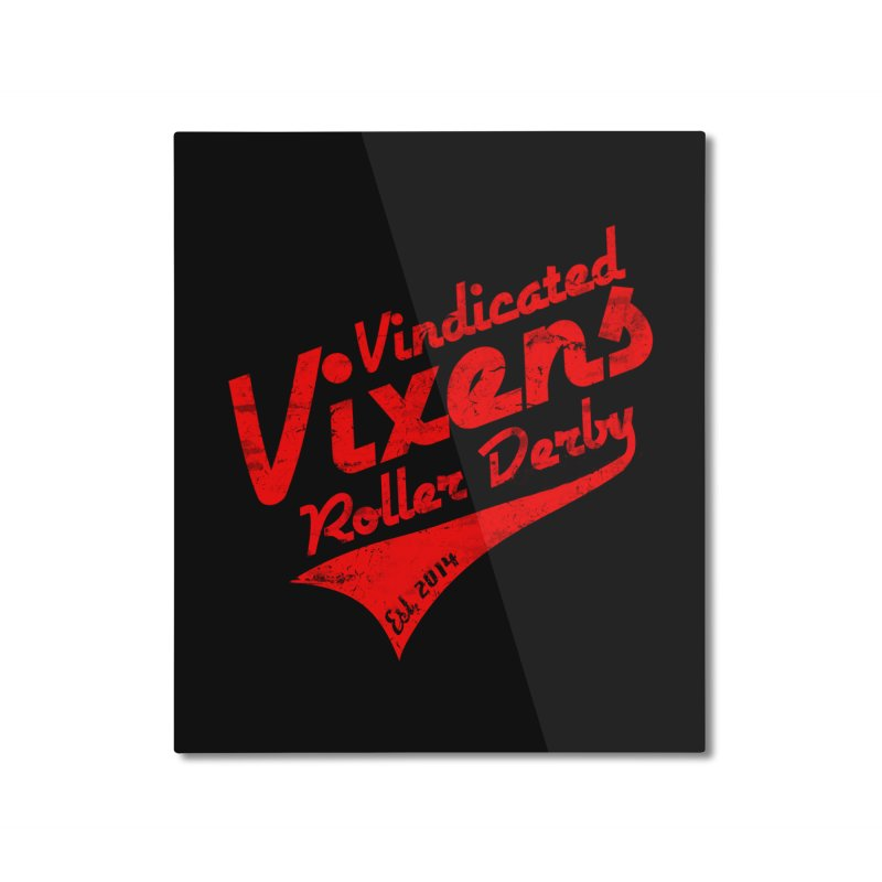 Vintage [Red] Home Mounted Aluminum Print by Vindicated Vixens Roller Derby