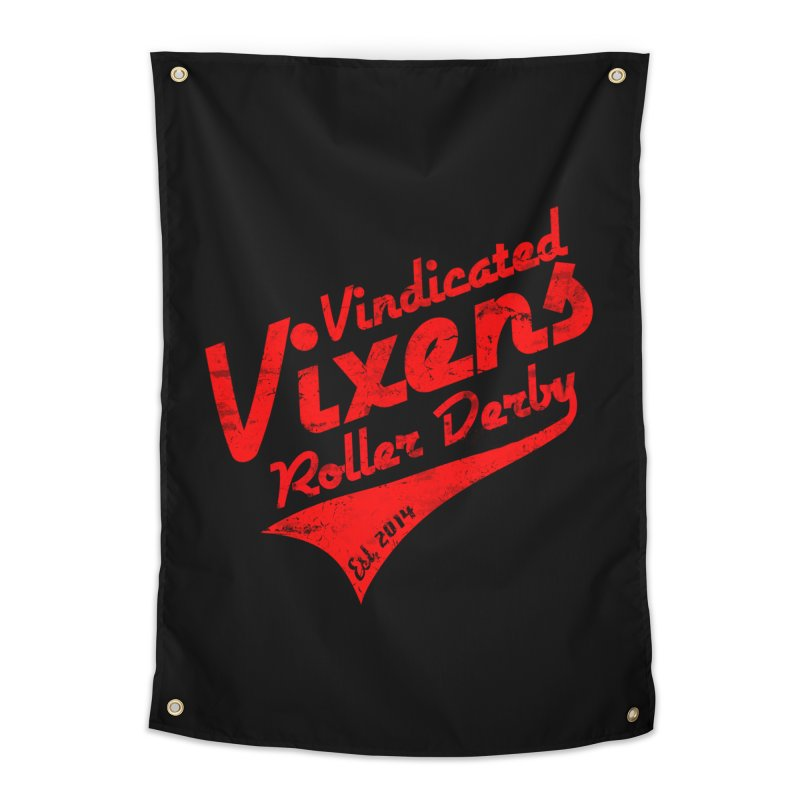 Vintage [Red] Home Tapestry by Vindicated Vixens Roller Derby