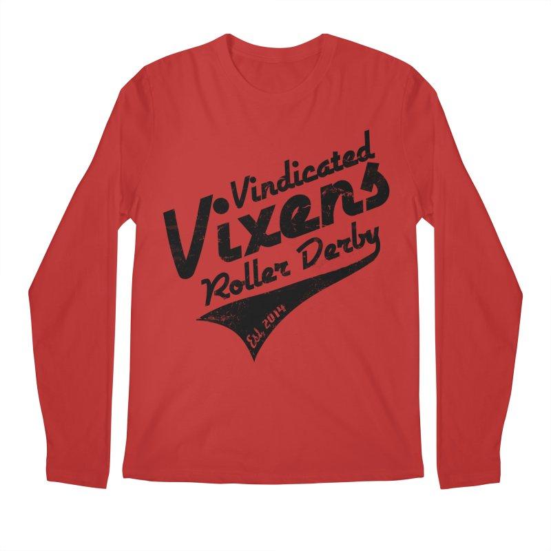 Vintage [Black] Men's Regular Longsleeve T-Shirt by Vindicated Vixens Roller Derby