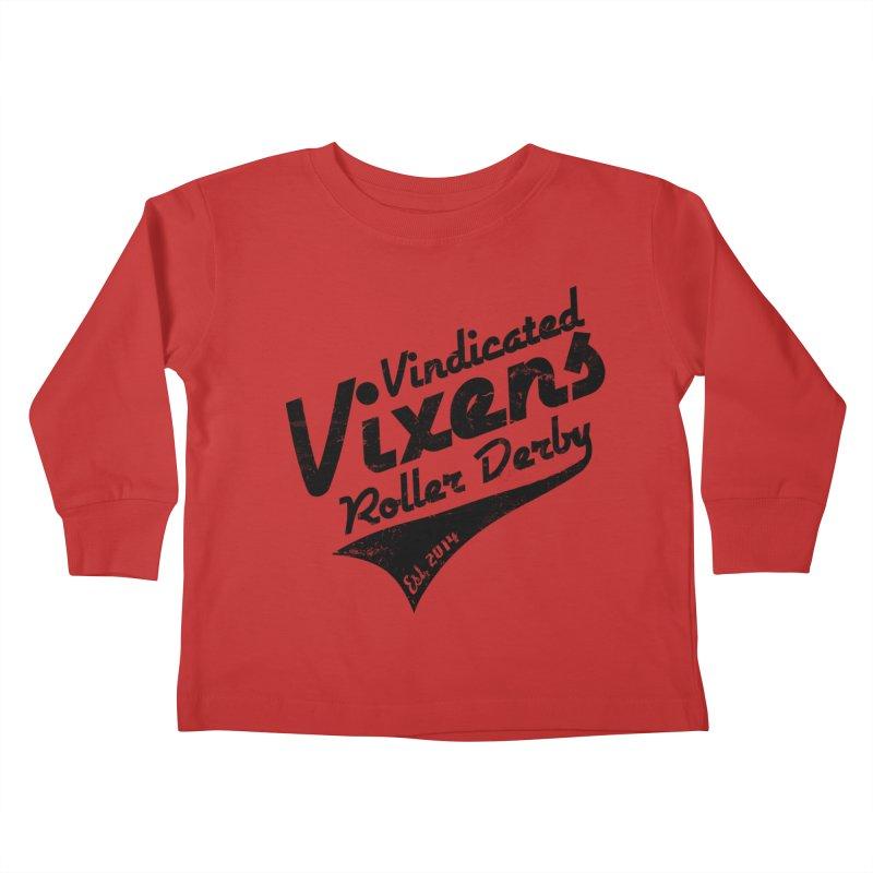 Vintage [Black] Kids Toddler Longsleeve T-Shirt by Vindicated Vixens Roller Derby