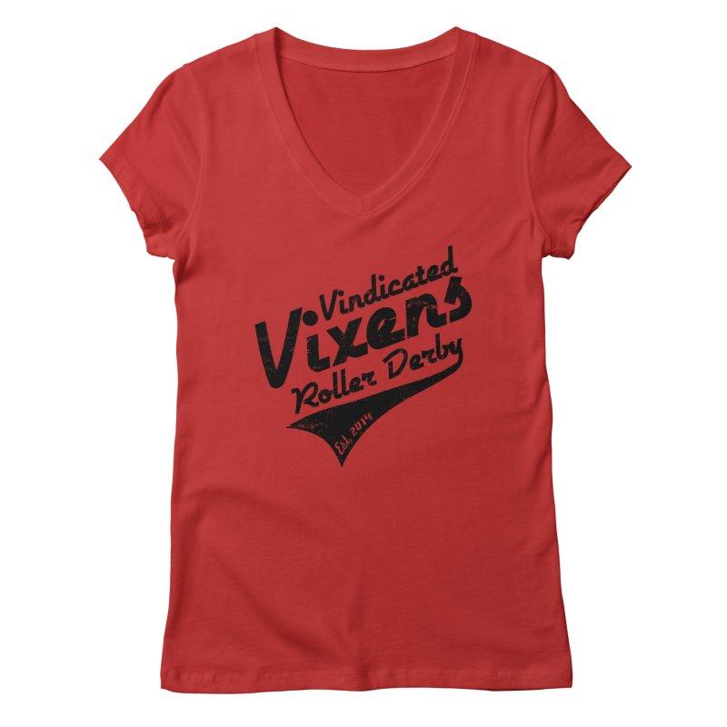 Vintage [Black] Women's Regular V-Neck by Vindicated Vixens Roller Derby