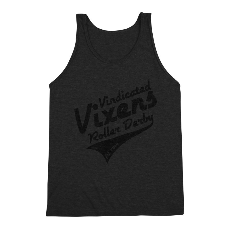 Vintage [Black] Men's Triblend Tank by Vindicated Vixens Roller Derby