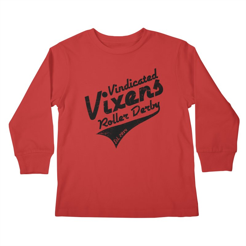 Vintage [Black] Kids Longsleeve T-Shirt by Vindicated Vixens Roller Derby