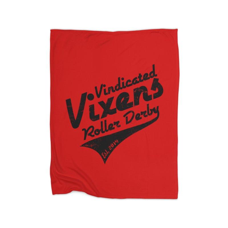 Vintage [Black] Home Fleece Blanket Blanket by Vindicated Vixens Roller Derby