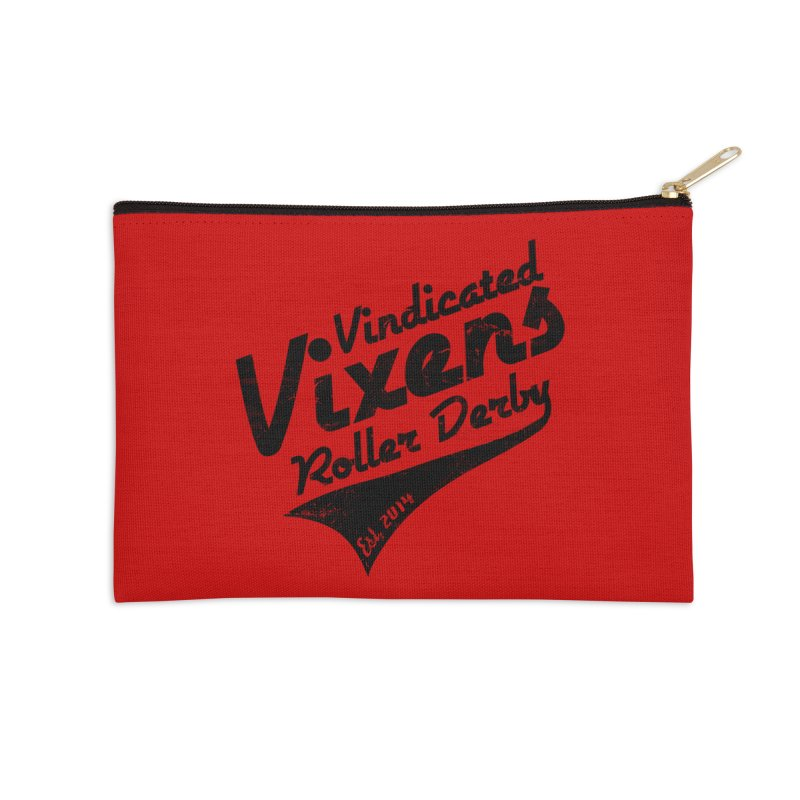 Vintage [Black] Accessories Zip Pouch by Vindicated Vixens Roller Derby