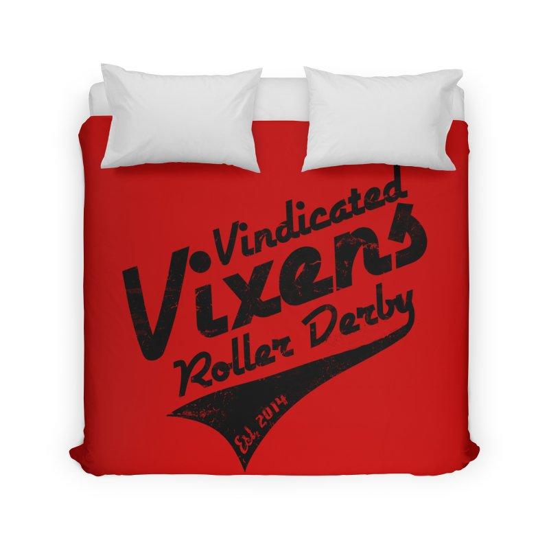 Vintage [Black] Home Duvet by Vindicated Vixens Roller Derby