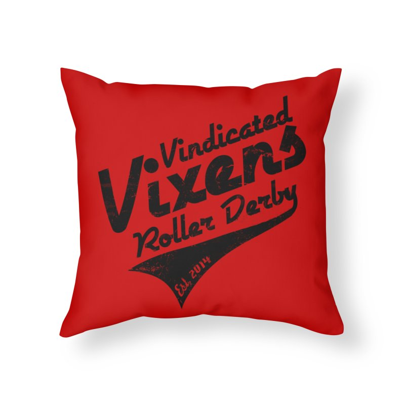 Vintage [Black] Home Throw Pillow by Vindicated Vixens Roller Derby
