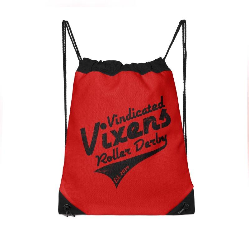 Vintage [Black] Accessories Drawstring Bag Bag by Vindicated Vixens Roller Derby