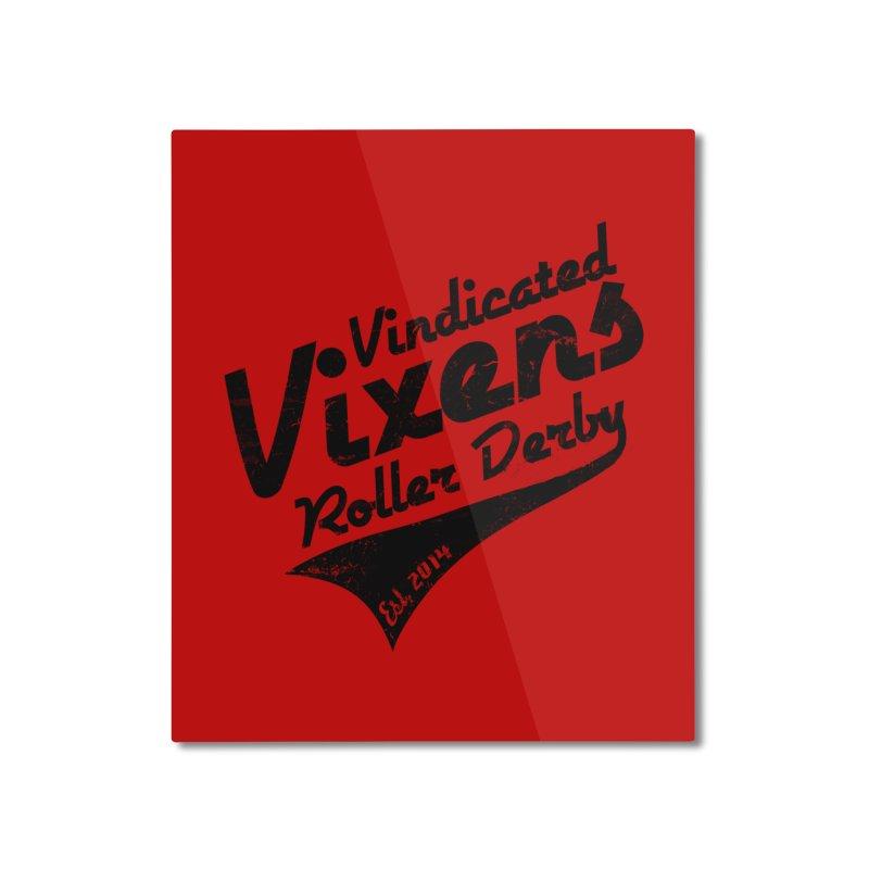 Vintage [Black] Home Mounted Aluminum Print by Vindicated Vixens Roller Derby