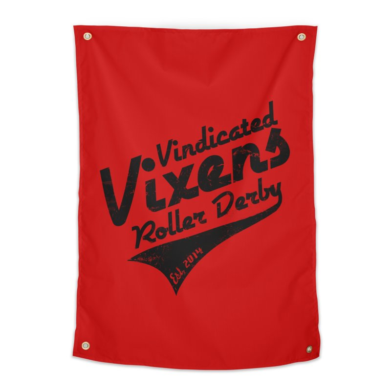 Vintage [Black] Home Tapestry by Vindicated Vixens Roller Derby