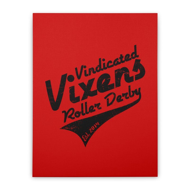 Vintage [Black] Home Stretched Canvas by Vindicated Vixens Roller Derby