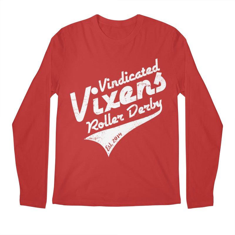 Vintage [White] Men's Regular Longsleeve T-Shirt by Vindicated Vixens Roller Derby