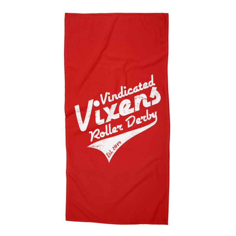 Vintage [White] Accessories Beach Towel by Vindicated Vixens Roller Derby