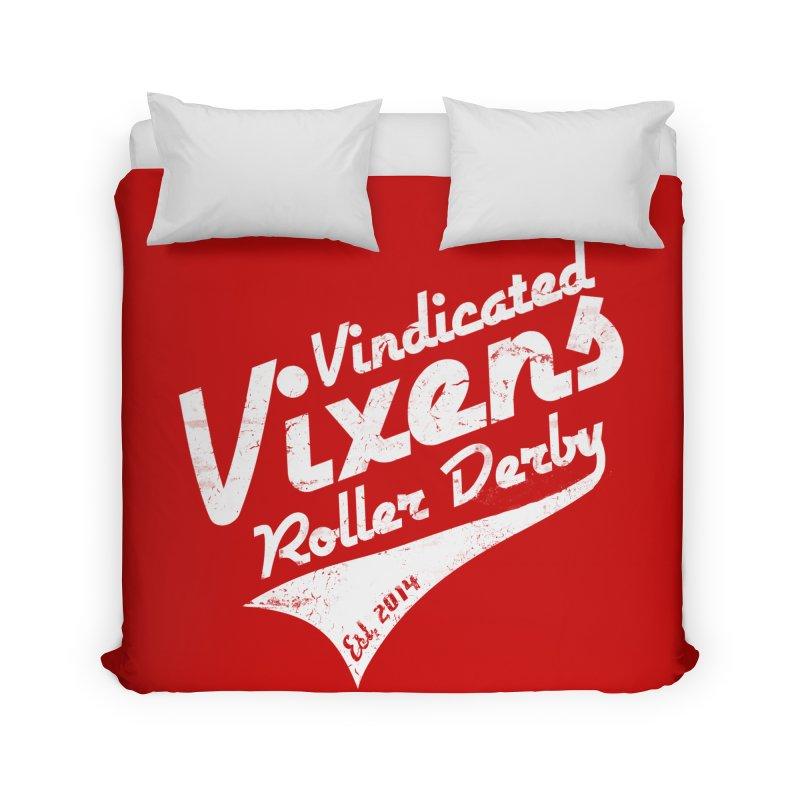 Vintage [White] Home Duvet by Vindicated Vixens Roller Derby