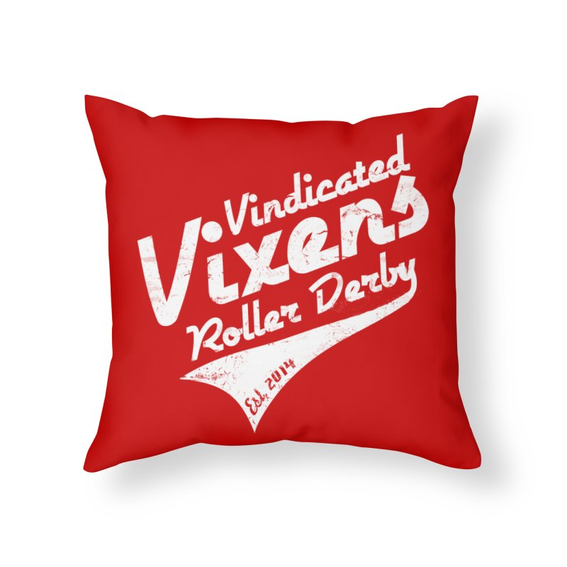 Vintage [White] Home Throw Pillow by Vindicated Vixens Roller Derby