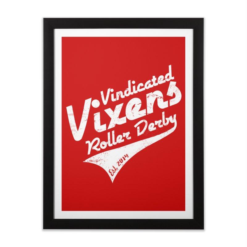 Vintage [White] Home Framed Fine Art Print by Vindicated Vixens Roller Derby