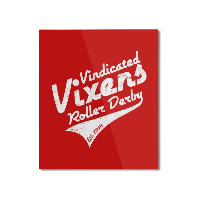 Vintage [White] Home Mounted Aluminum Print by Vindicated Vixens Roller Derby