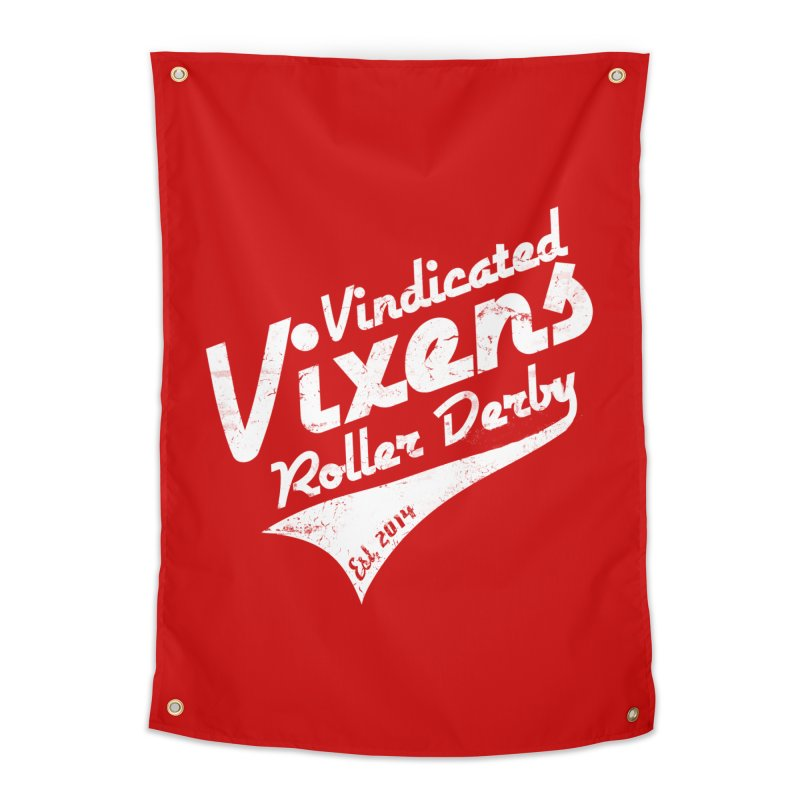 Vintage [White] Home Tapestry by Vindicated Vixens Roller Derby
