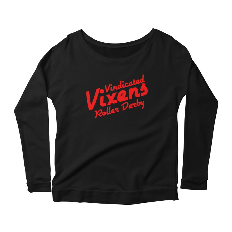 Classic [Red] Women's Scoop Neck Longsleeve T-Shirt by Vindicated Vixens Roller Derby