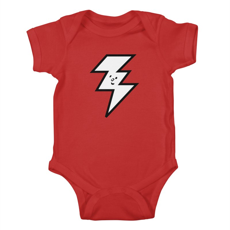 Good Luck Bolt in Kids Baby Bodysuit Red by Vinnie Ray's Apparel Shop