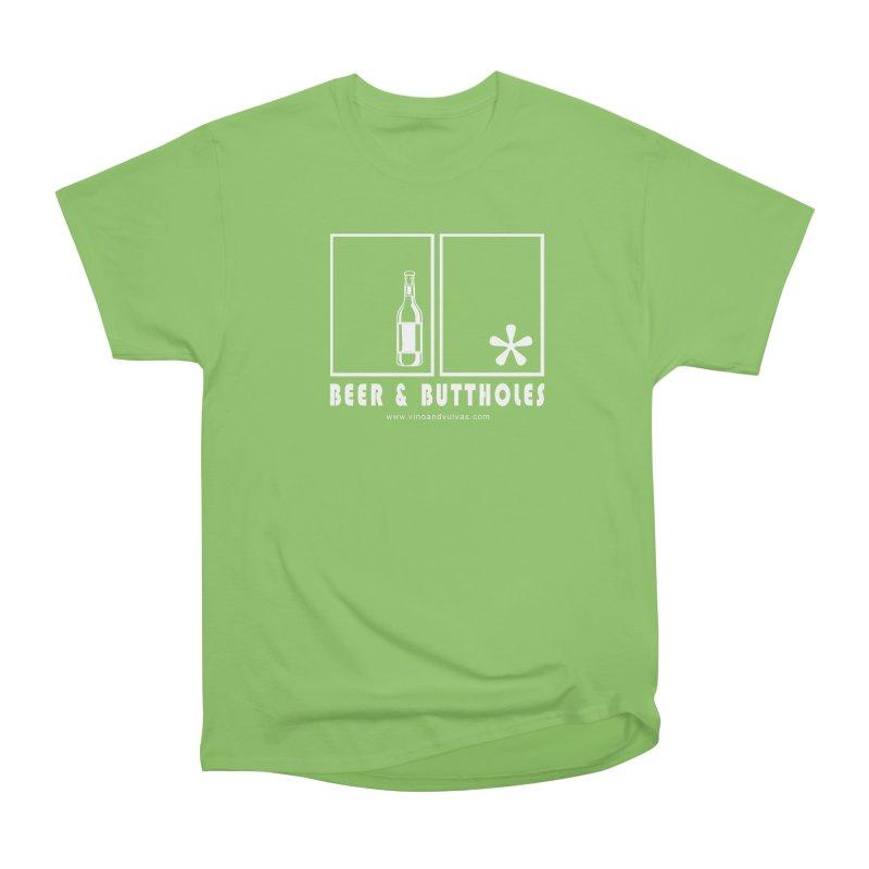 Beer & Buttholes (white logo) Men's Heavyweight T-Shirt by Vino & Vulvas Artist Shop