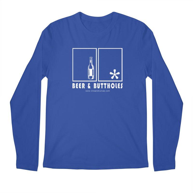 Beer & Buttholes (white logo) Men's Regular Longsleeve T-Shirt by Vino & Vulvas Artist Shop