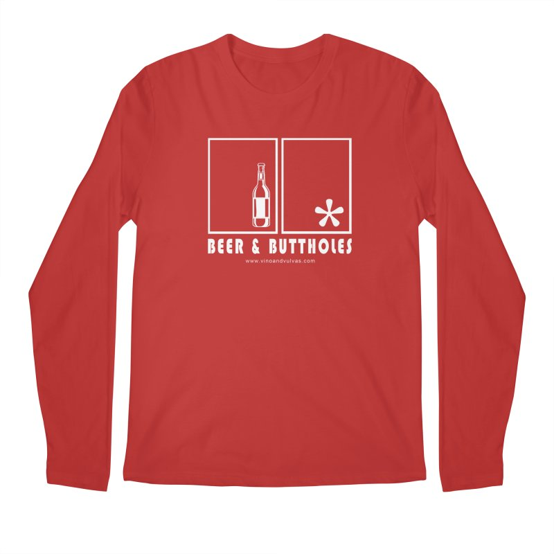 Beer & Buttholes (white logo) Men's Regular Longsleeve T-Shirt by Vino & Vulvas Artist Shop