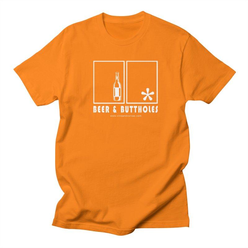 Beer & Buttholes (white logo) Men's Regular T-Shirt by Vino & Vulvas Artist Shop
